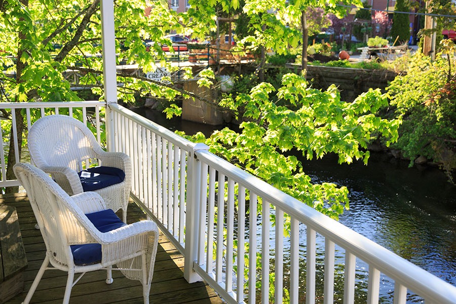 Premier River View Fireplace Suite at the Lord Camden Inn in Camden, Maine